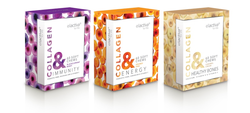 This is an image of 3 boxes of Ellactiva Collagen, there is Collagen Immunity, Collagen Energy and Collagen Healthy bones, each package contains 60 chews and a range of vitamins.