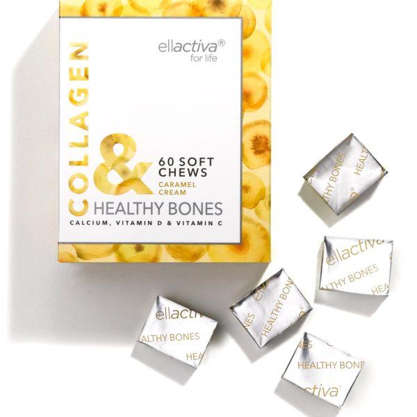 A box of 60 Ellactiva Collagen& Healthy Bones chews in a creamy caramel flavour