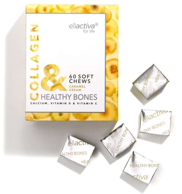 A box of 60 Ellactiva Collagen& Healthy Bones chews in a creamy caramel flavour