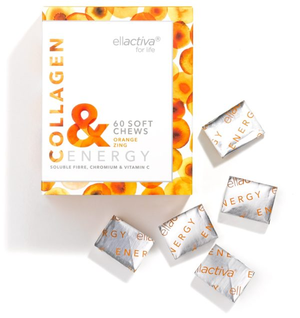 A box of 60 Ellactiva Collagen& Energy chews in a zingy orange flavour